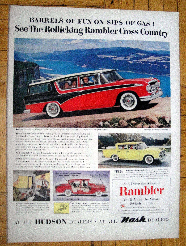 Original Print Ad 1956 Hudson Dealers Rambler Cross Country 2 Page Advertising-print