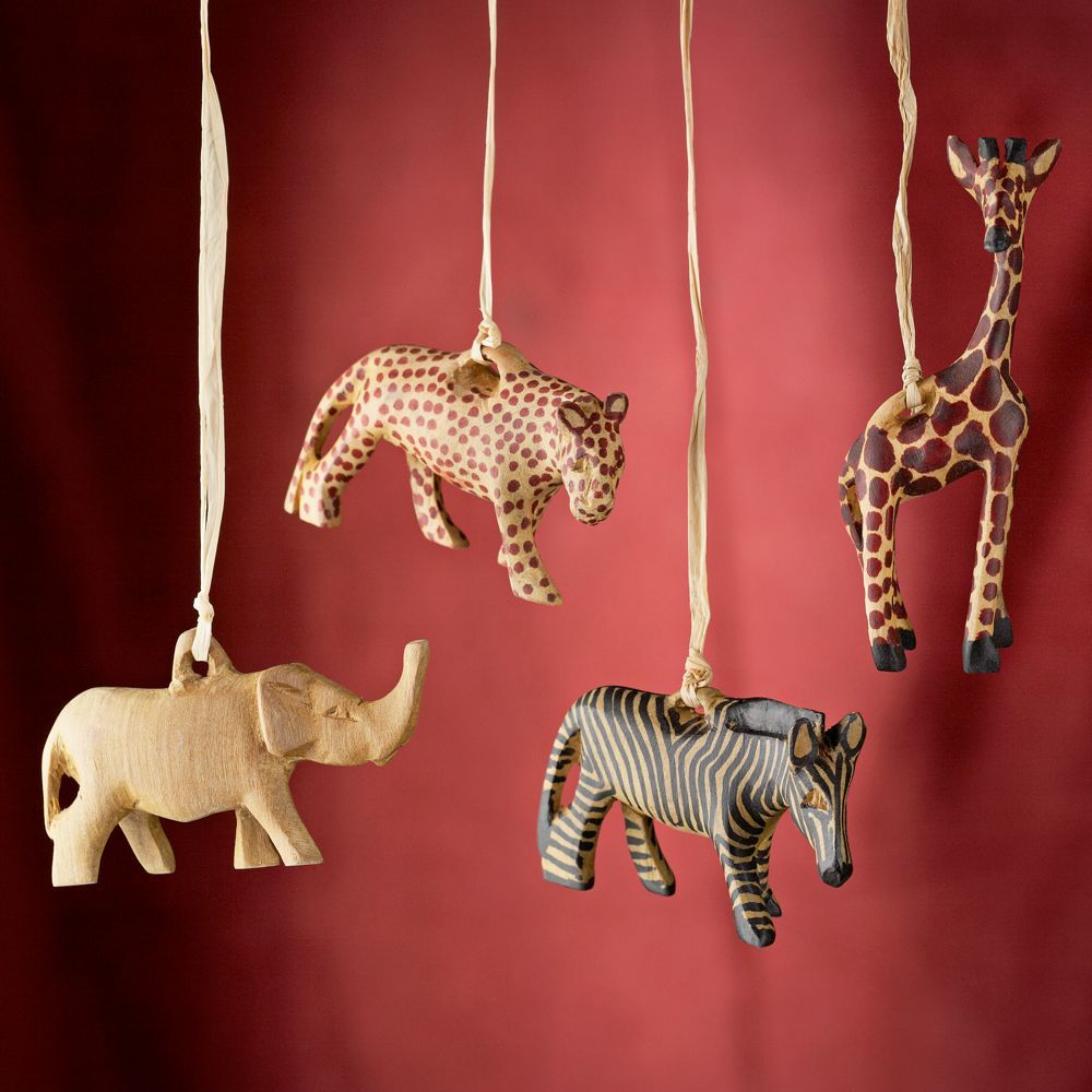 Kenyan Carved Olivewood Safari Animal Ornaments Set of