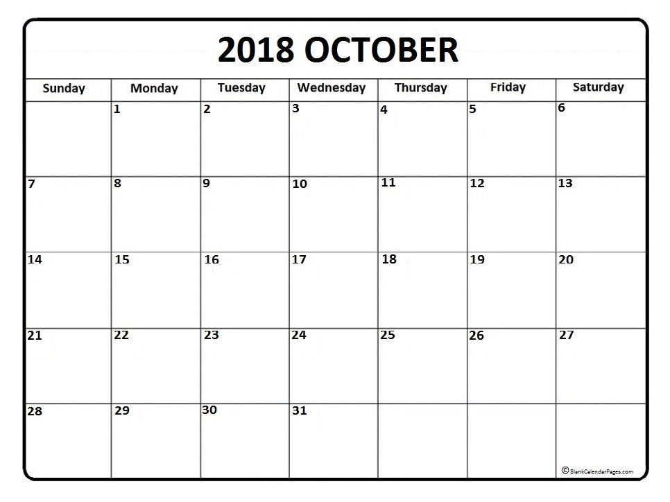 2018 Calendar of October Template October 2018 Calendar