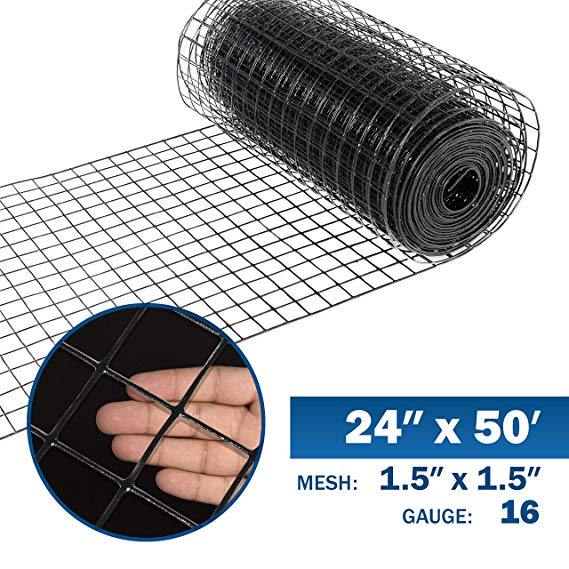 Fencer Wire 16 Gauge Black Vinyl Coated Welded Wire Mesh Size 1 5 Inch By 1 5 Inch 2 Ft X 50 Ft Hardware Cloth Amaz Fencer Wire Wire Mesh Diy Dog Fence