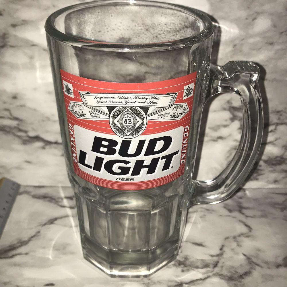 Vintage Bud Light Beer Large 32oz Glass Mug Ebay Glass Beer