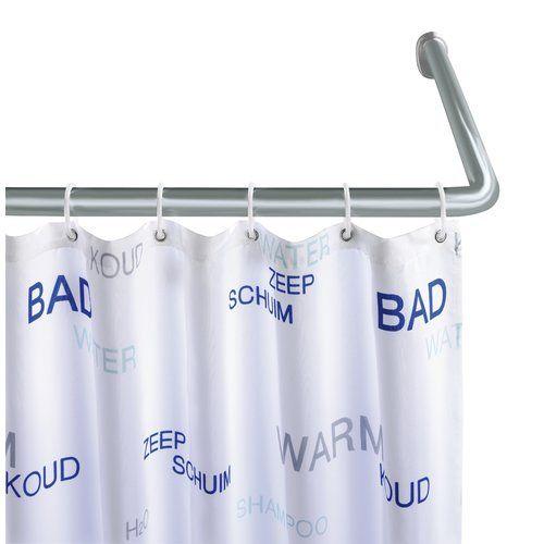 Wenko 90cm U Shaped Fixed Shower Curtain Rail Curtain Rails