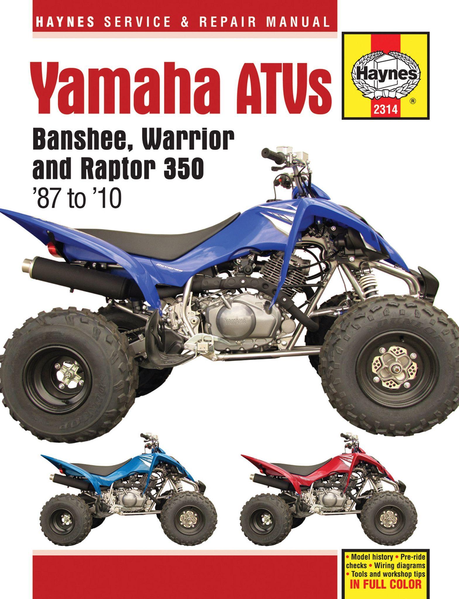 Haynes M2314 Repair Manual For 1987 10 Yamaha Banshee Warrior Raptor Yamaha Banshee Yamaha Repair Manuals