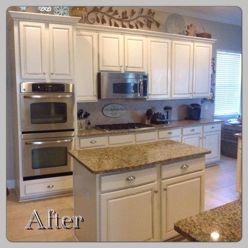 Diy Glazing Kitchen Cabinets: Beautiful Antique White Mixed With Pure White; Finished