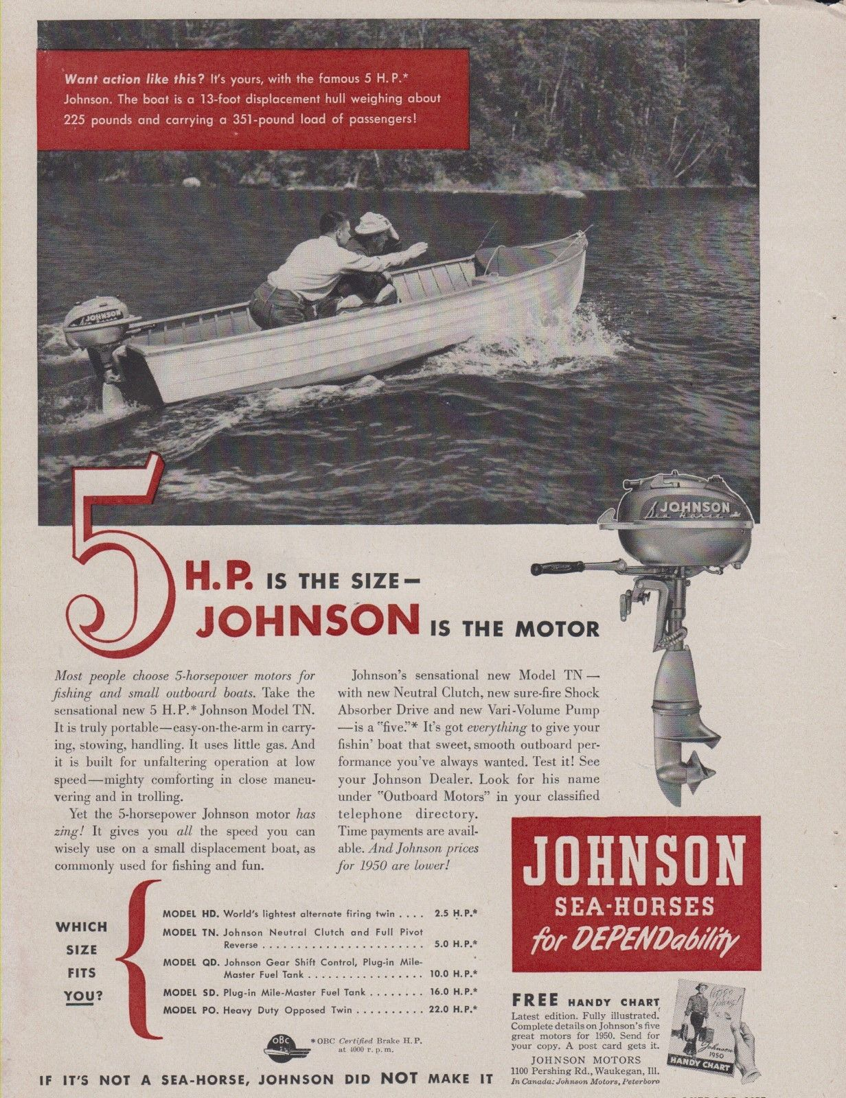 1950 Johnson Model Tn 5 Hp Outboard Motor Ad Vintage Horsepower 4 5hp 2 Stroke Motors Retro Advertising