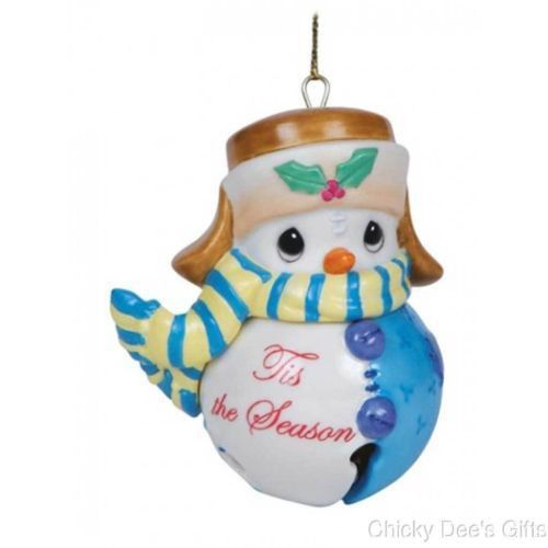 """Precious Moments """"Holidays Grow the Spirit"""" Snowman Tis the Season Jingle Bell Hanging Ornament MPN: 141046 CONDITION: New SIZE: 3.25 in H MATERIAL: Bisque porcelain Precious Moments Snowman Tis the S"""