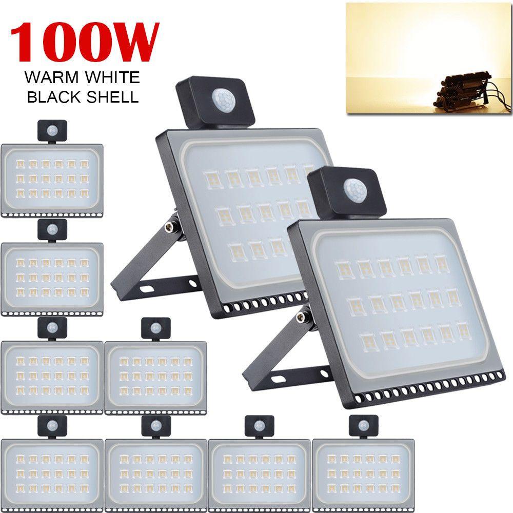 10x 100w Warm White Pir Motion Sensor Led Flood Light Outdoor Garden Floodlight Led Flood Flood Lights Warm White