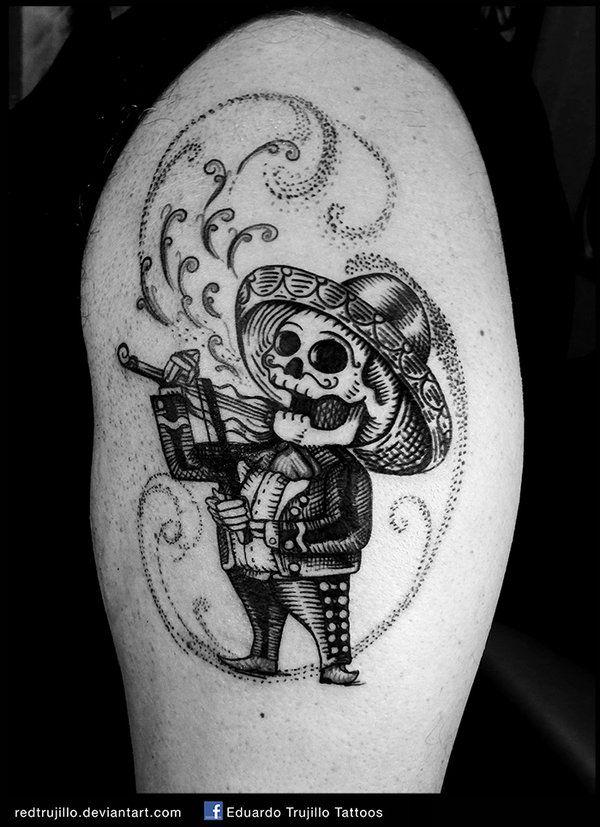 Mariachi Skull Tattoo Mariachi Day Of The Dead By Redtrujillo Deviantart Com On Deviantart Tatuaje Mexicano Tatuaje De Bordado Tatuajes De Leo