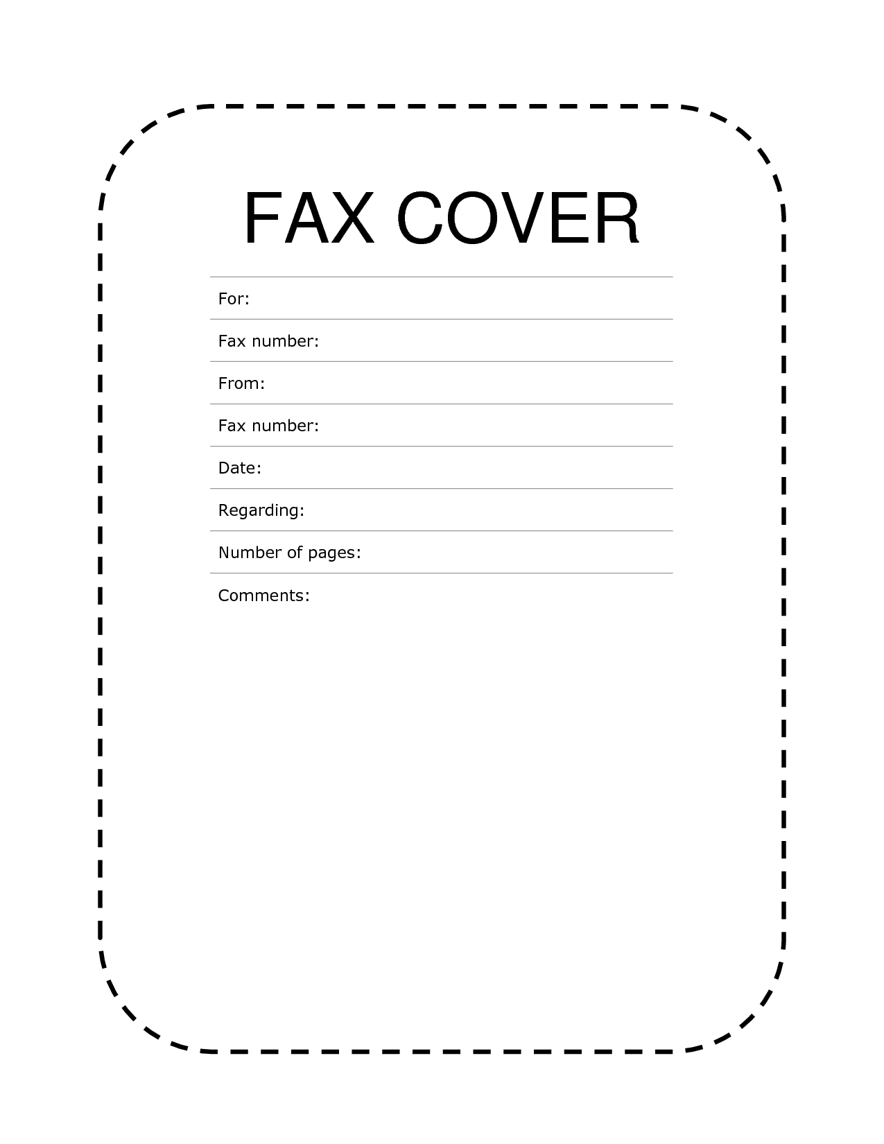 Fax Cover Sheet Dashed Lines Cover Sheet Template Fax Cover Sheet Cover Letter Sample