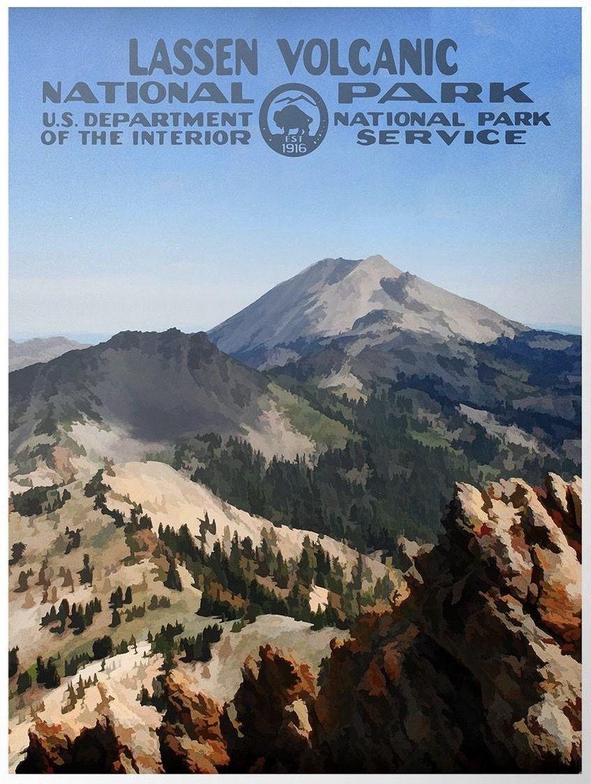 Lassen Volcanic National Park WPA-Style Vintage Travel Poster 12x18 California