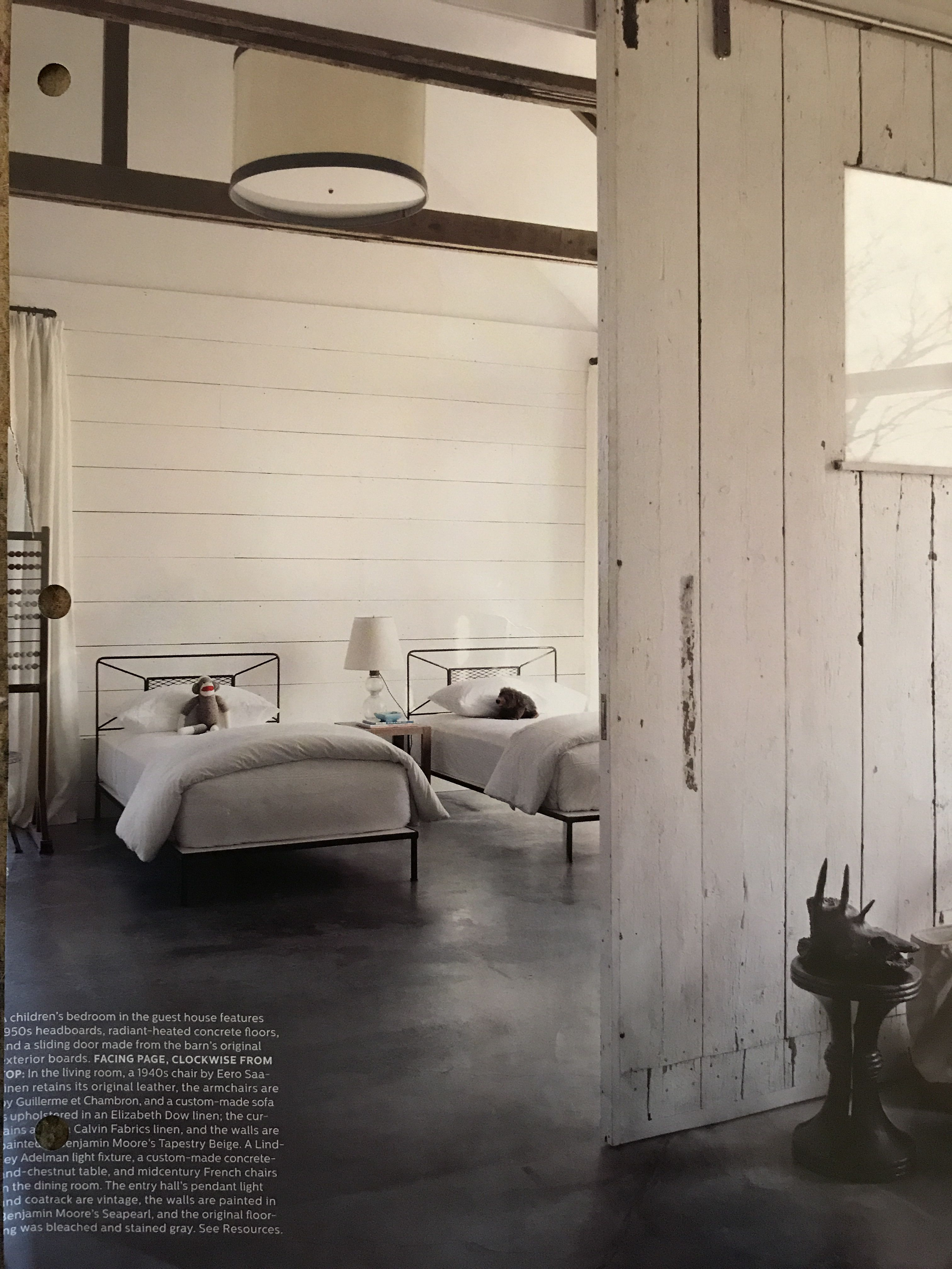 children   bedroom in the guest house features headboards radiant heated concrete floors and sliding door made from barn original exterior also best home design architecture images rh pinterest