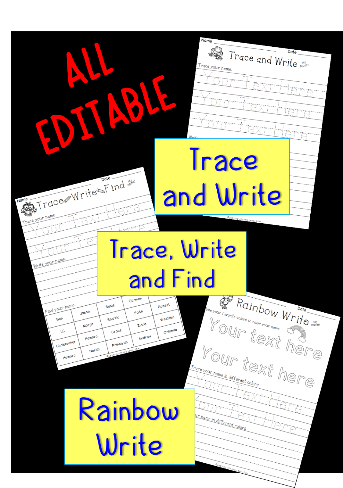 Editable Name Plates And Worksheets Are Here
