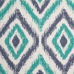 Spanish Green/Blue Ikat-Like Geometric Poly/Cotton Canvas