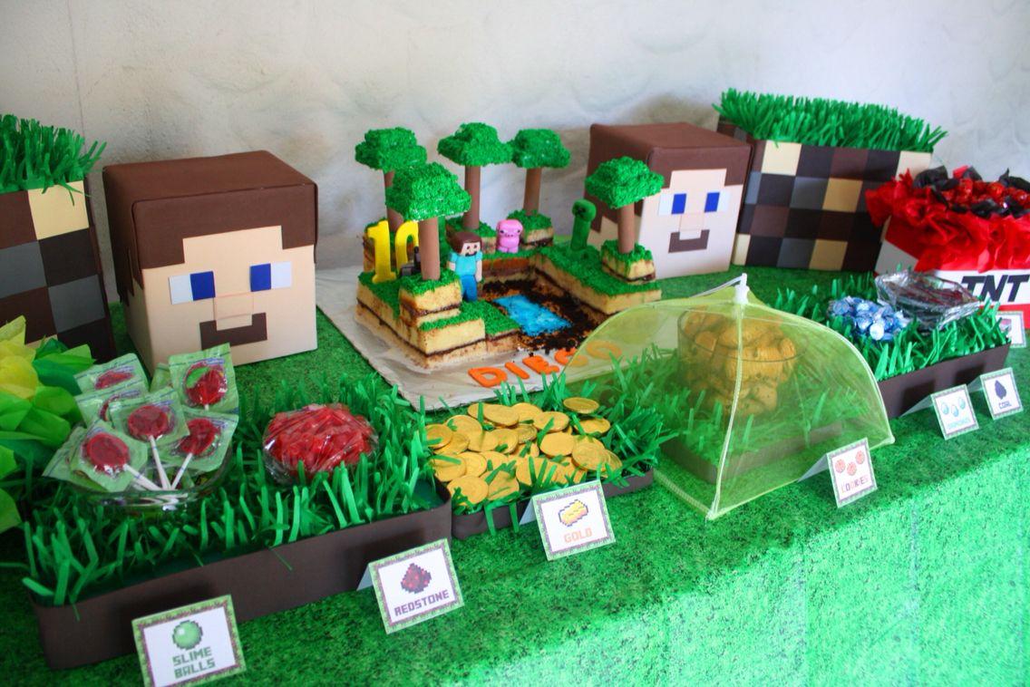 Minecraft decoracion cumplea os jeff pinterest for Decoracion de mesa de cumpleanos