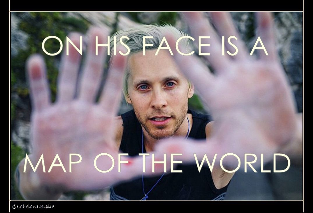 MARSlyrics  On his face is a map of the world FromYesterday