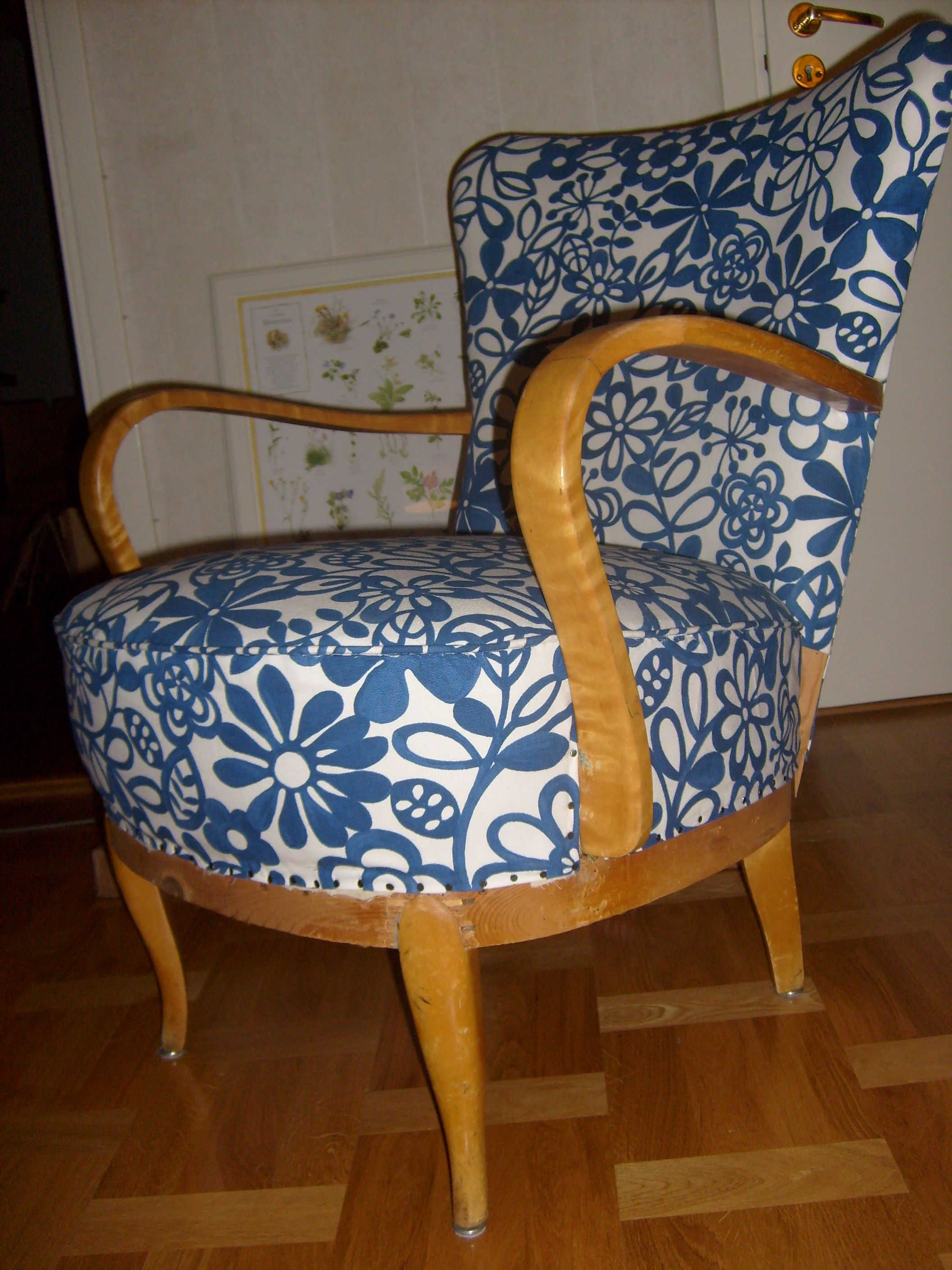 Re-upholstered armachair.