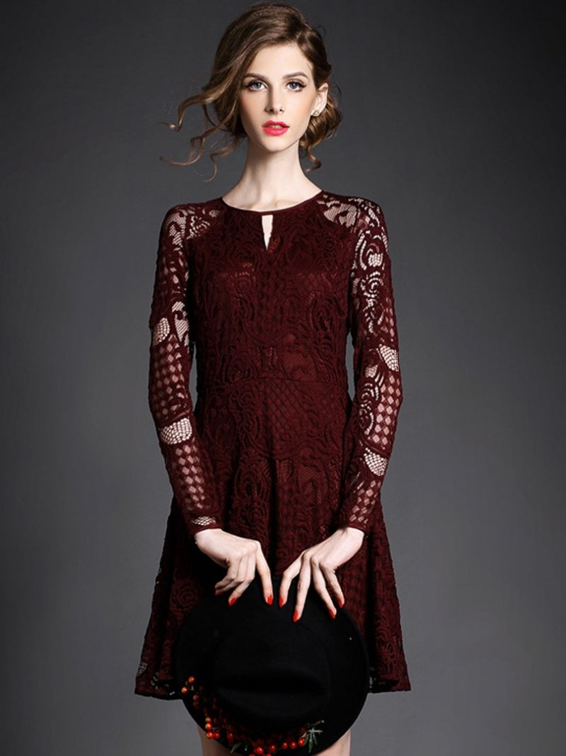 Wine red long sleeve high waist crochet lace dress crochet lace