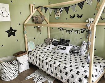 Toddler bed house shaped bed wood house bed frame play