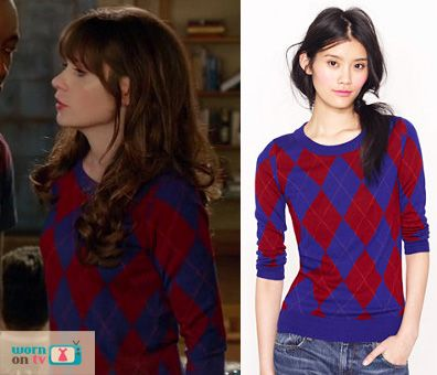 Jess's blue and red argyle check sweater on New Girl. Outfit ...