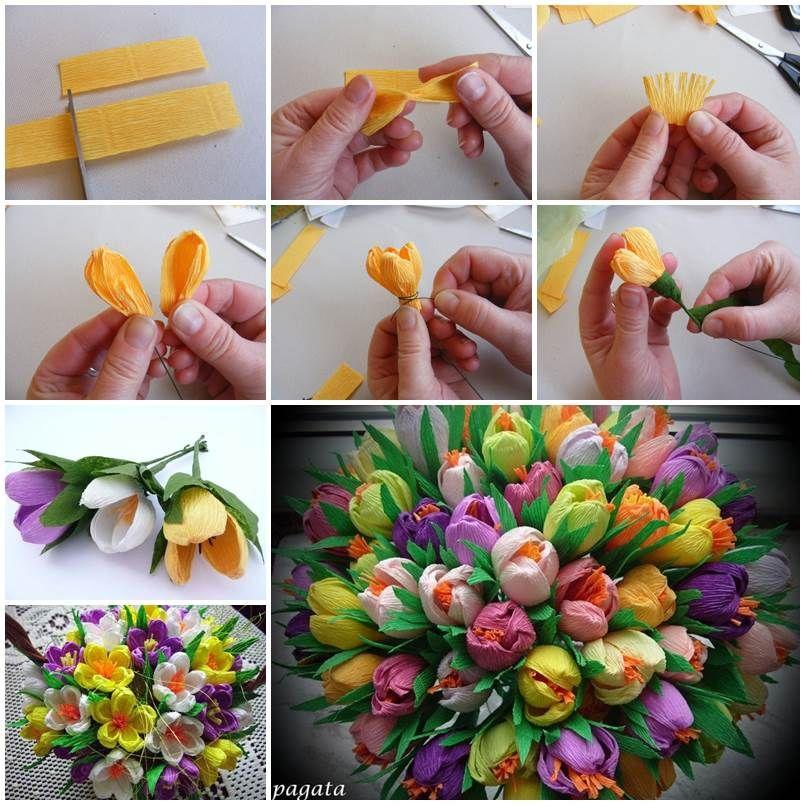 DIY Beautiful Bouquet of Crepe Paper Crocuses