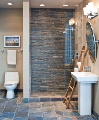 Blue And Gray Gl Tile Used On Accent Wall Back In Shower Area Five Foot Bathroom Gallery