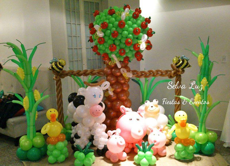 Fiesta tem tica de la granja decoraci n con globos para for Decoracion jardin infantes