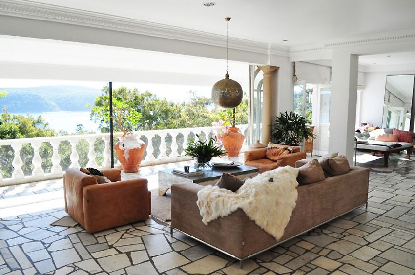 a wide expanse w/ modern eclectic decor.