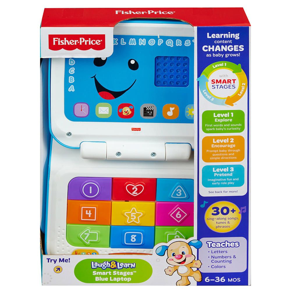 Nib Fisher Price Laugh Learn Smart Stages Laptop Blue Fisher Price Learning Colors Fisher Price Baby Toys