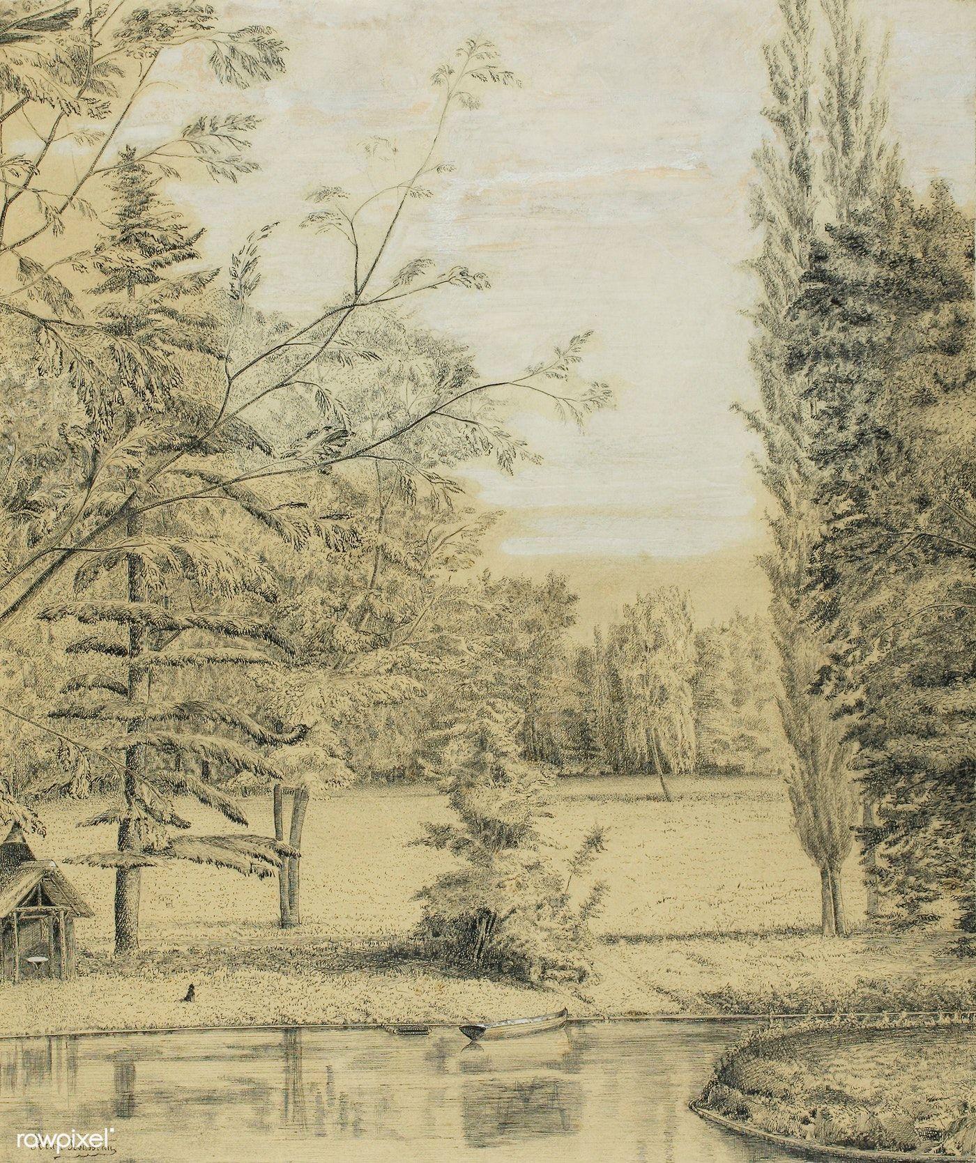 River and Park Landscape (ca.18851890) by Henri Rousseau