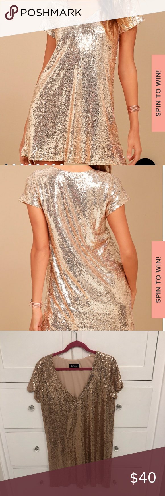 Lulu S Gold Sequin Shift Dress Size L Mini Dress With Sleeves Lulu Lace Dress Black Lace Bodycon Dress [ 1740 x 580 Pixel ]