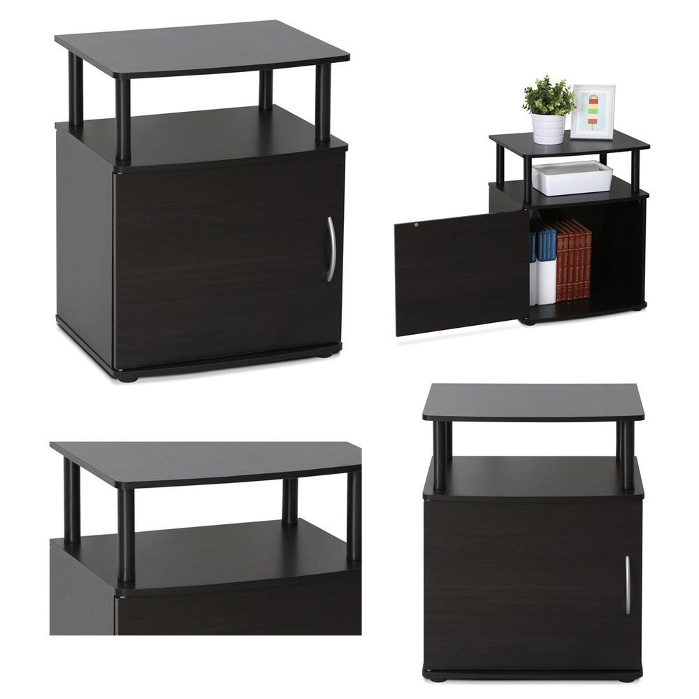 1pc modern black utility end table night stand side furniture ...