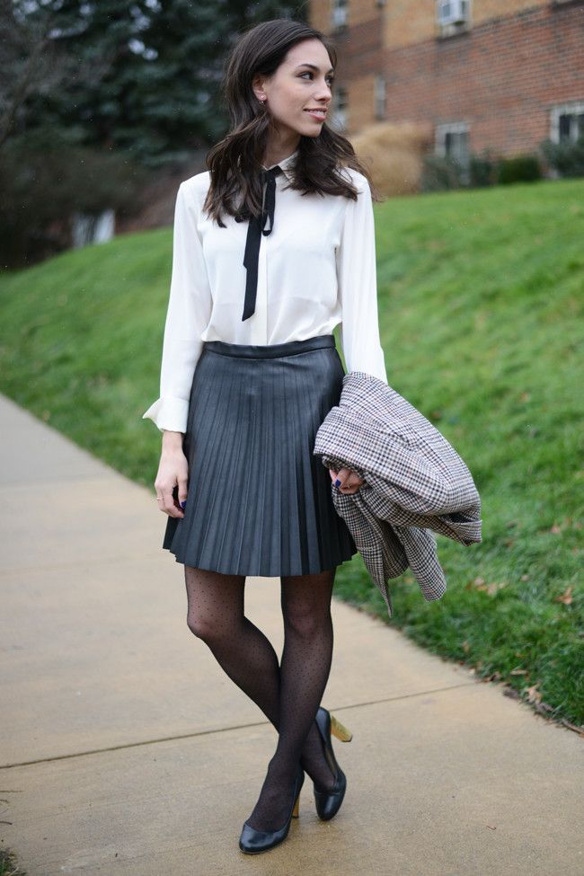 Bow Tie Blouse   Pleated Leather Skirt | Best Bow tie blouse, Tie ...