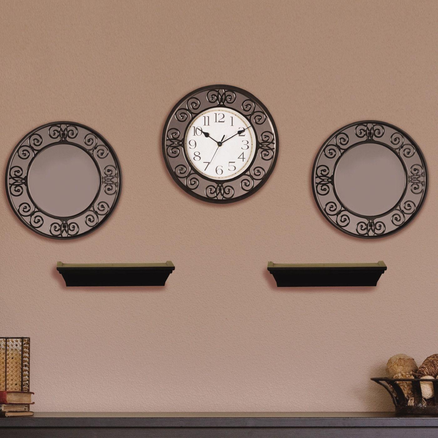 Elements 5 Piece Curl Clock Mirror Shelf Set Clock Wall Clock Mirror With Shelf