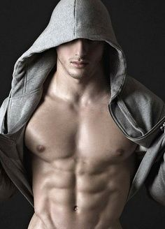 Cute hot guy with abs in a hoodie  fa8db9029