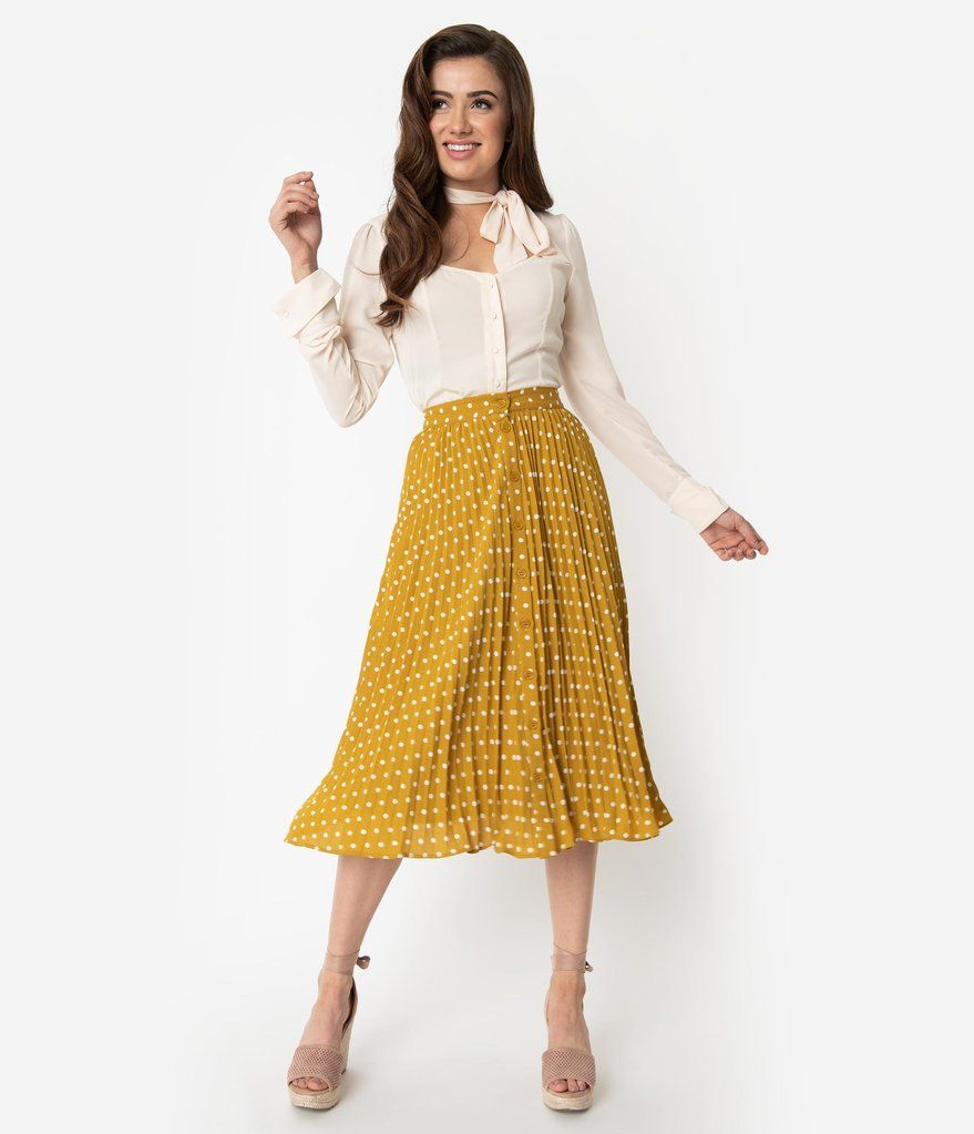 cb00c6d7fde1ea Spicy Mustard & Ivory Polka Dot Pleated High Waist Midi Skirt in ...