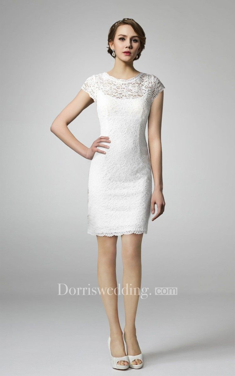 High neck form fitting lace short wedding dress wishful thinking