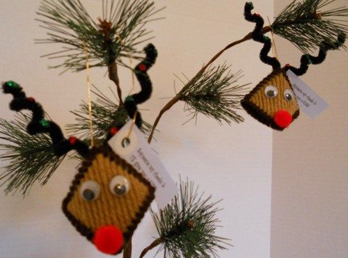 Reindeer Ornaments Kiss Squeeze My Cheeks Christmas Holiday Decorations