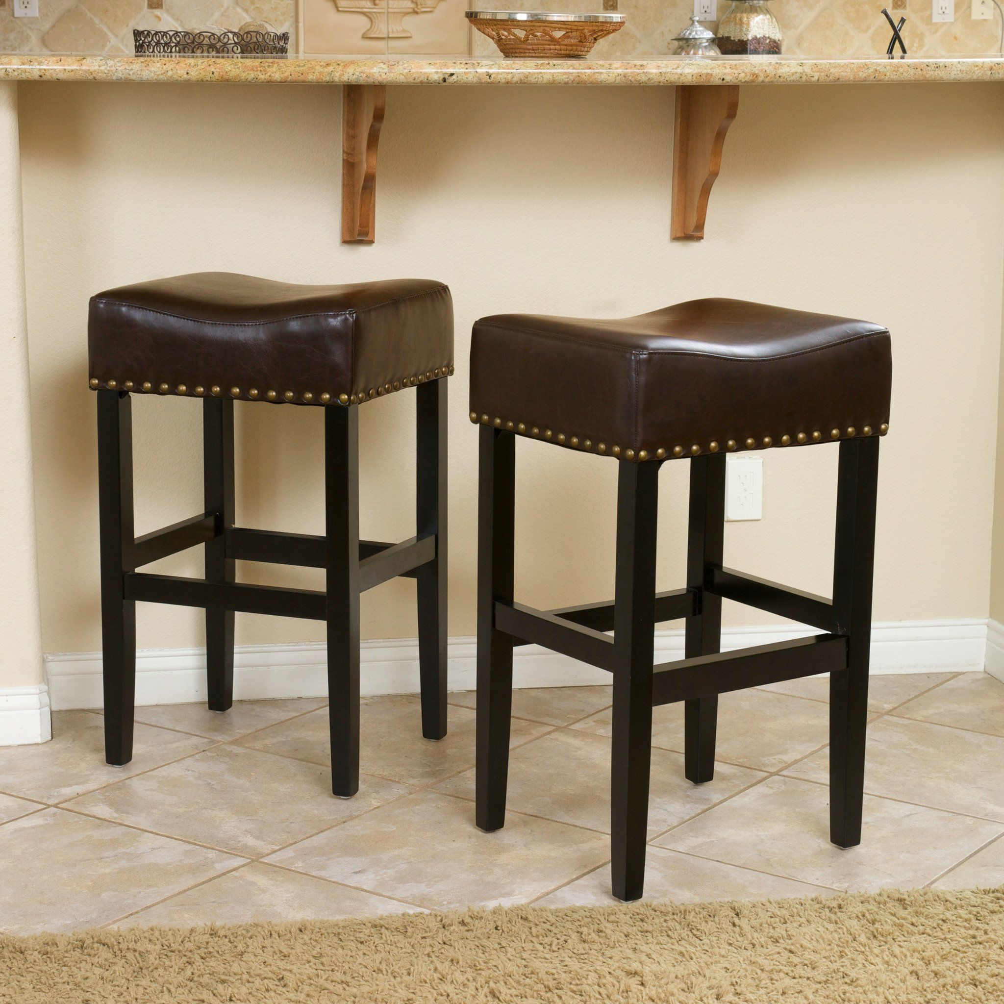 Ad Chantal Brown Leather Bar Stool Set Of 2 These Comfortably