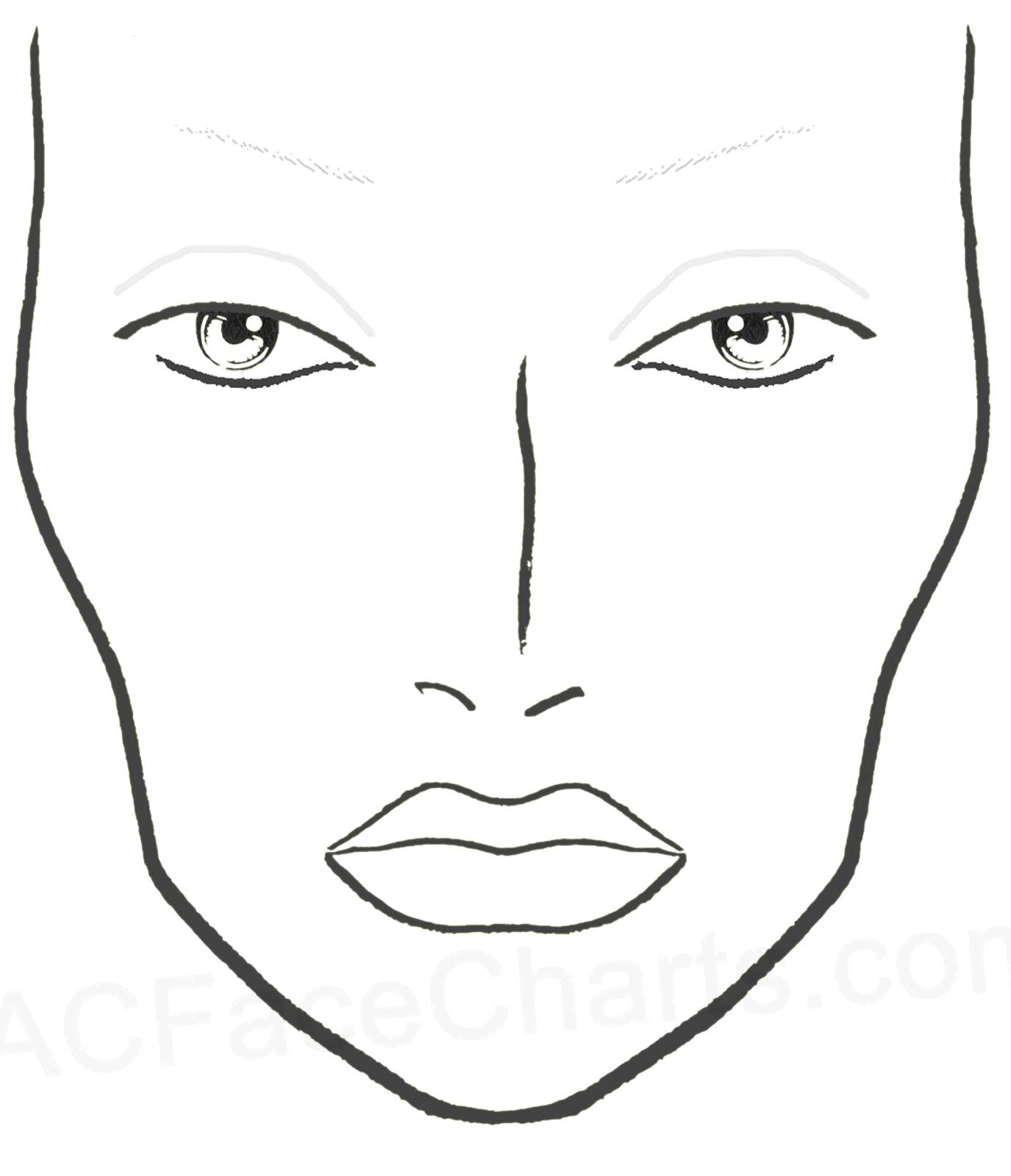 image regarding Printable Face Painting Chart named Make-up Confront Template Printable Pdf