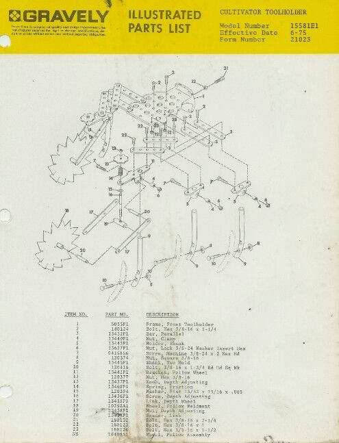 Tool holder parts list gravely tractor Tractors, Tools