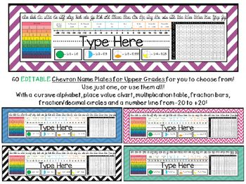 Chevron Name Plates For Upper Grades Chevron Name Plates Name Plate Place Value Chart