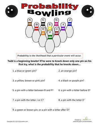 Bowling Probability Teaching Math Pinterest Worksheets Math