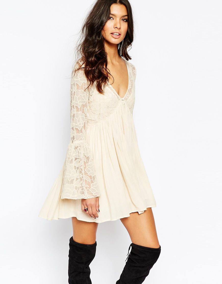 Image 1 of Free People With Love From India Lace Dress With Bell ...
