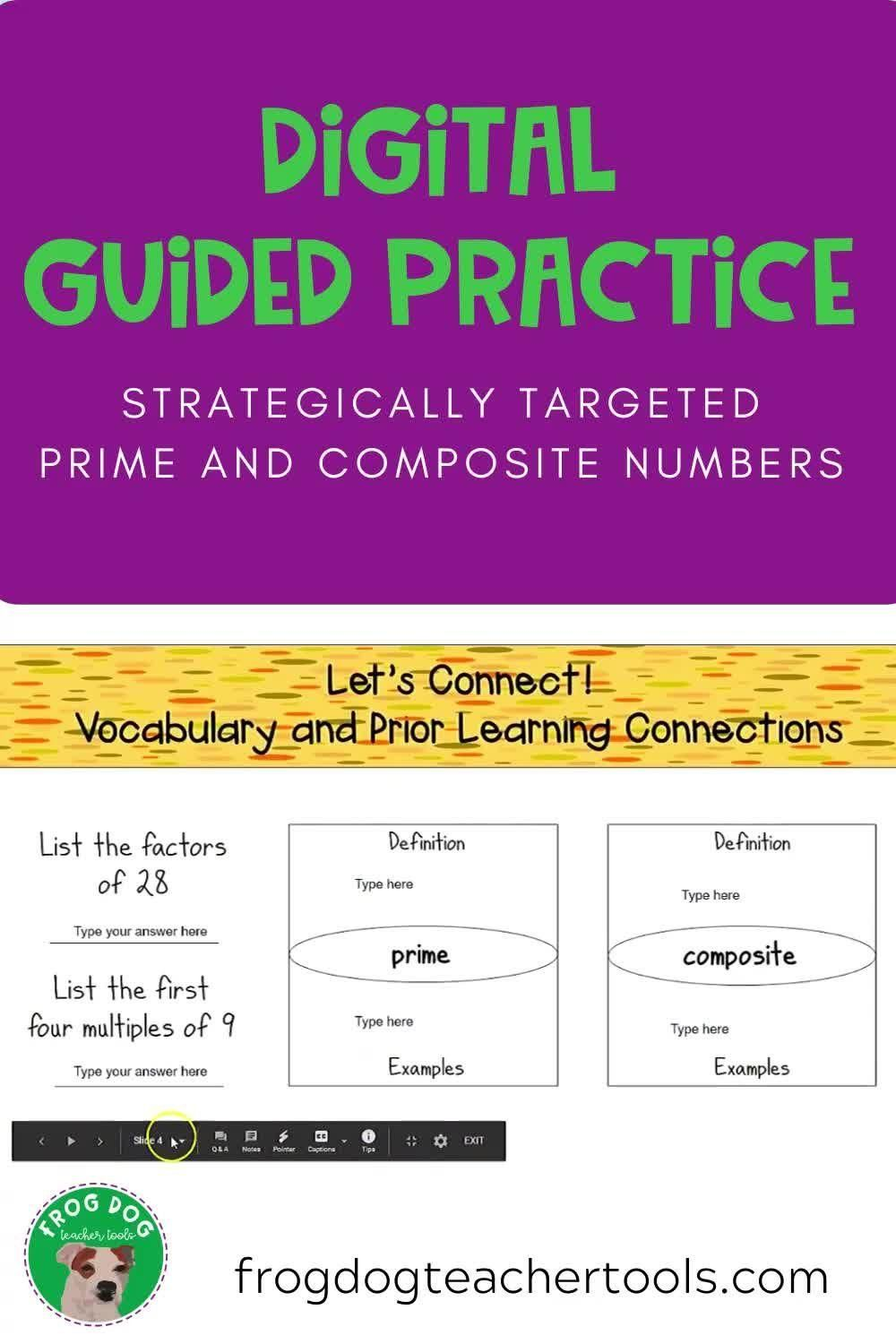 Prime And Composite Digital Guided Practice Activity Video Guided Practice Middle School Math Prime And Composite
