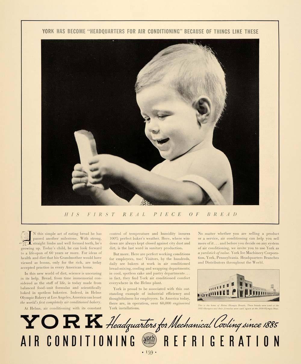 1937 Ad York Air Conditioning Refrigeration Bread Helms