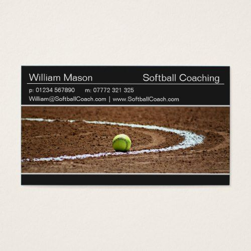 Softball On A Field Photo Business Card