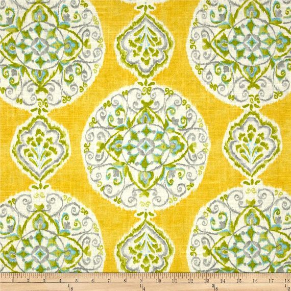 Yellow Grey Citrus Aqua And Ivory Medallion By