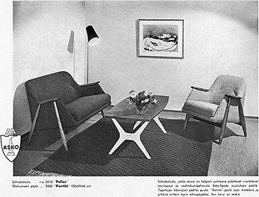 Asko Pallas-kalusto.  Suunnitellut ruotsalainen Svante Skogh vuonna 1954, sitä valmisti Ruotsissa Ernst Hjertquist & Co, Suomessa Asko.