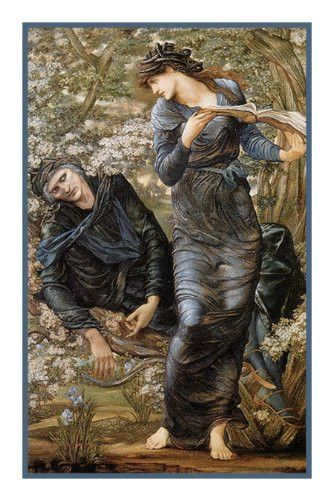 The Beguiling of Merlin by Arts and Crafts Edward Burne-Jones Counted Cross Stitch or Counted Needlepoint Pattern
