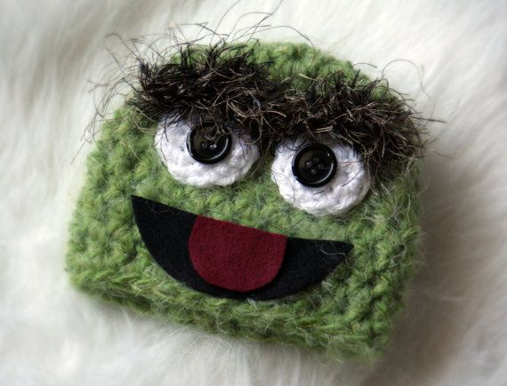 886d44db115 Newborn-12 Month - Fuzzy Oscar the Grouch Inspired Beanie on Etsy ...